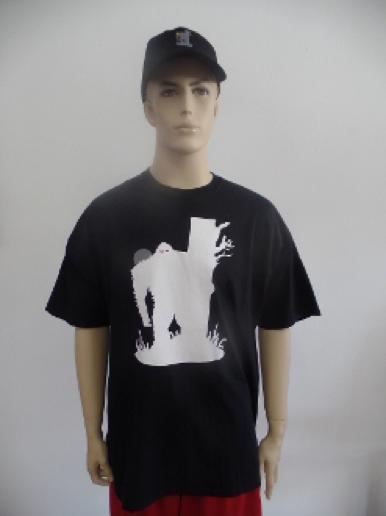black teeshirt with white sasquatch graffic