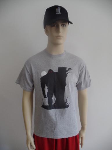 gray teeshirt with black sasquatch graphic
