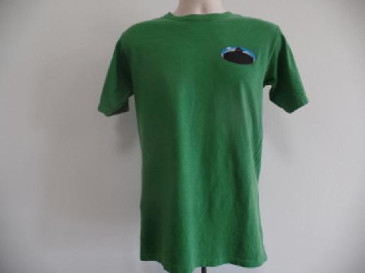 green heathered teeshirt sasquatch logo